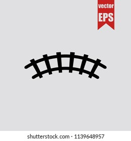 Railway icon in trendy isolated on grey background.Vector illustration.