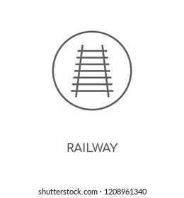 Railway linear icon. Railway concept stroke symbol design. Thin graphic elements vector illustration, outline pattern on a white background, eps 10.