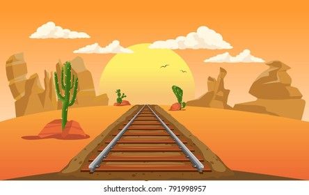 Railway in the middle of the desert with cactus during sunset.