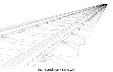 Railway on white