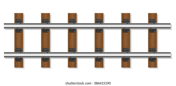 railway rails and wooden sleepers vector illustration isolated on white background