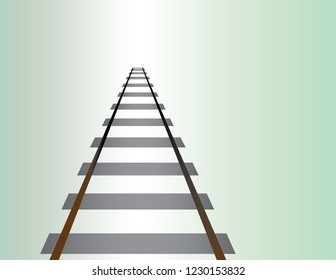A railway road for train travel to go long distance on light background vector illustration