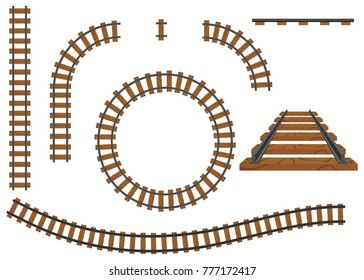 Railway, a set of railroad tracks. Rails and sleepers. Flat design, vector illustration, vector.