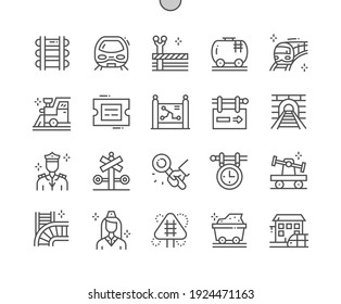 Railway. Signs at railway station. Train and locomotive. Direction, way, vehicle, railroad, transport, subway and road. Pixel Perfect Vector Thin Line Icons. Simple Minimal Pictogram