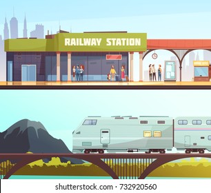 Railway station and railway bridge horizontal banners with people waiting transport and train moving on mountain background flat vector illustration
