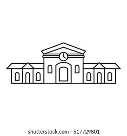 Railway station building icon. Outline illustration of railway station building vector icon for web design