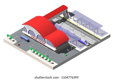 Railway station building, platforms and train. Vector isometric illustration