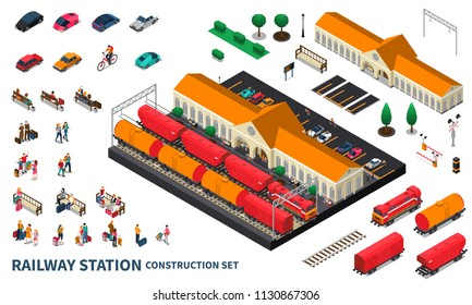 Railway station construction set of locomotive cargo tanks passengers personal car parking and city landscape elements isometric vector illustration