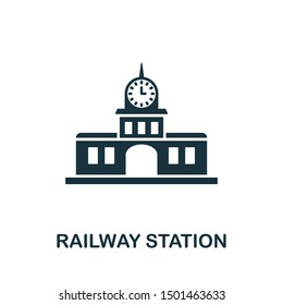 Railway Station icon vector illustration. Creative sign from buildings icons collection. Filled flat Railway Station icon for computer and mobile. Symbol, logo vector graphics.