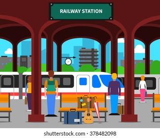 Railway station with locomotive and passengers on platform flat vector illustration