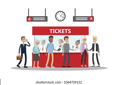 Railway station room illustration with passengers and visitors.