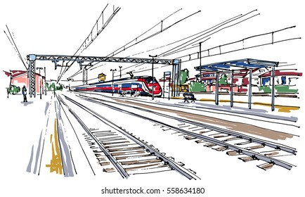 Railway station sketch