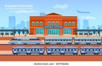 Railway station, vector flat background illustration