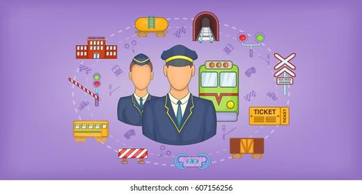 Railway stuff horizontal banner concept. Cartoon illustration of Railway stuff vector horizontal banner for web
