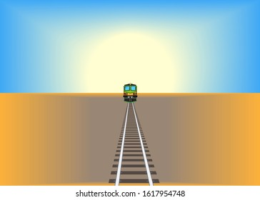 Railway track crossing drought cracked desert landscape under dramatic evening sunset sky. Global warming and travel concept