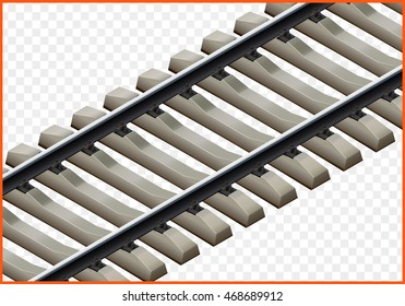railway track isometric. railroad vector 3d illustration. rail path isolated on white background