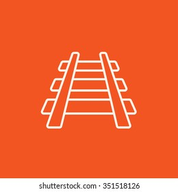 Railway track line icon for web, mobile and infographics. Vector white icon isolated on red background.
