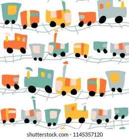 railway train transport baby seamless pattern