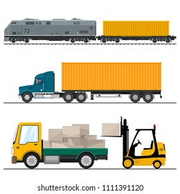Railway Transportation and Trucking, Truck and Lorry with Boxes and Forklift Truck, Locomotive with Cargo Container , Shipping and Freight of Goods, Vector Illustration