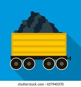 Railway wagon loaded with coal icon, flat style