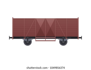 Railway wooden wagon, with a variety of cargo in the form of coal, products, minerals. Railway locomotive, train, with wagons: transport and cargo with products. Vector illustration isolated.