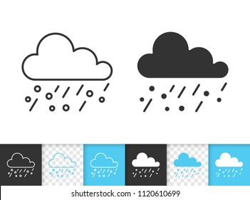Rain black linear and silhouette icons. Thin line sign of hail. Cloud outline pictogram isolated on white, color, transparent background. Vector Icon shape. Sleet simple symbol closeup