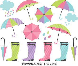 Rain Boots and Umbrellas (Girl)