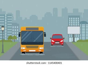 Rain in the city. Modern urban landscape. Flat style, vector illustration.