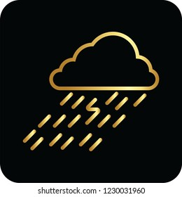 rain cloud golden icon for web and print