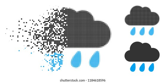 Rain cloud icon in dispersed, pixelated halftone and solid versions. Elements are arranged into vector dispersed rain cloud shape. Disappearing effect involves rectangle particles.