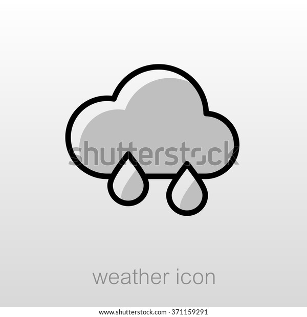 Rain Cloud Outline Icon Meteorology Weather Stock Vector