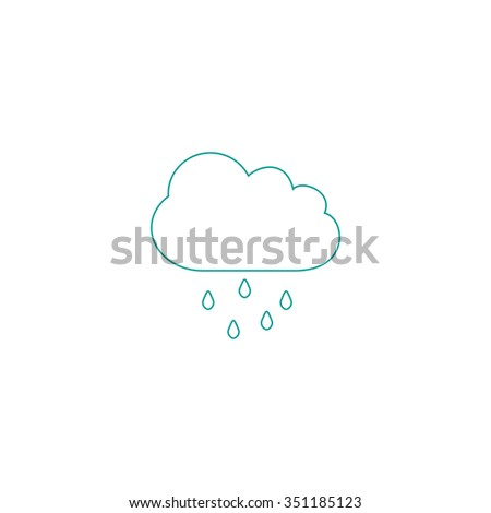 Rain Cloud Outline Vector Icon On Stock Vector (Royalty Free