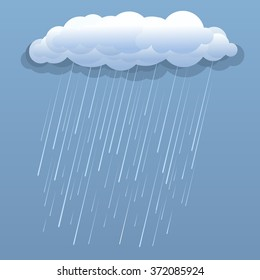 Rain cloud vector blue illustration isolated
