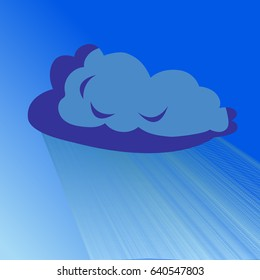 Rain cloud vector blue illustration isolated. Rapid rain.