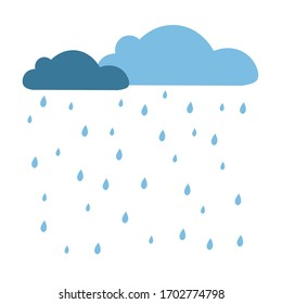 Rain clouds and rain droplets vector illustration