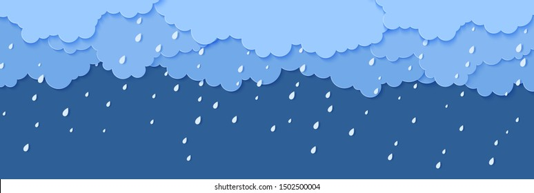 Rain and clouds in paper cut style. Vector storm weather concept with falling water drops from the cloudy sky. Storm papercut background template for autumn monsoon discounts sale banner.