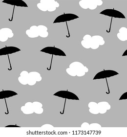 Rain, clouds and umbrellas. Seamless pattern. Vector