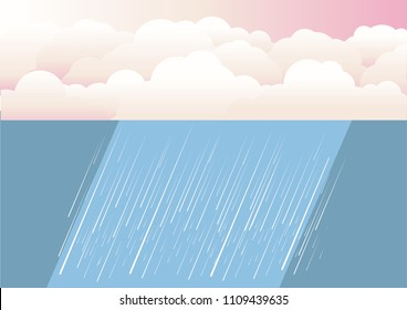 Rain clouds.Vector nature illustration background with rain clouds