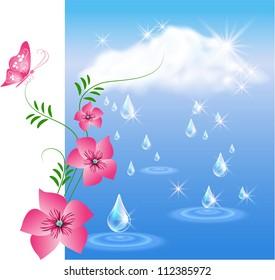 Rain in the dark blue sky and flowers