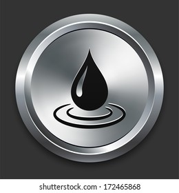Rain Drop Icon on Metallic Button Collection