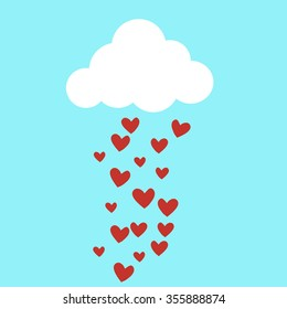 Rain drops of red hearts in the blue sky vector illustration