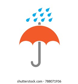 rain drops umbrella icon
