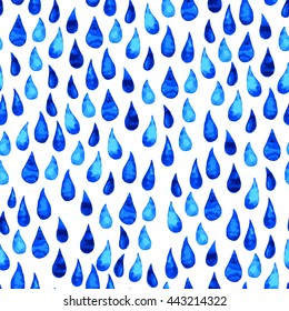 Rain drops vector seamless pattern. Watercolor water drops beautiful pattern on white background. Cute elements for your design, textile, fabric, banner, card.