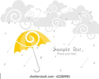 rain falling background with isolated yellow umbrella