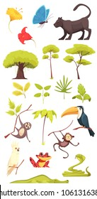 Rain forest jungle inhabitants flora fauna insects collection with alligator cobra snake butterflies monkeys isolated vector illustration