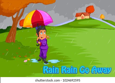 Rain Rain Go Away, Kids English Nursery Rhymes book illustration in vector