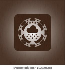 rain icon inside wood emblem. Vintage.