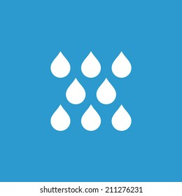 rain icon, isolated, white on the blue background. Exclusive Symbols