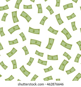 Rain from money seamless background vector. Falling banknotes in flat design. Getting maximum profit idea. Cash for all purposes. Illustration for credit, savings, charitable concepts