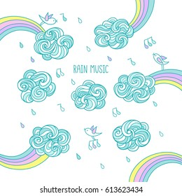 Rain music. Sweet little birds are singing and flying in the sky above the clouds and rainbows under a colored shower. Set of cute hand drawn elements for kids design on white background.